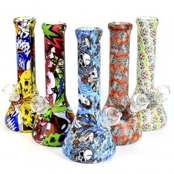 12'' Silicone Color Printed Art Beaker Water Pipe G-G