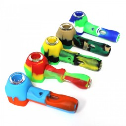 4'' Silicone With Inner Glass Tube Hand Pipe With Glass Bowl