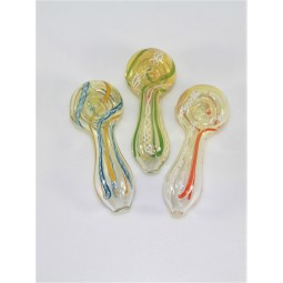 3'' Clear With Swirl Color Glass Pipe