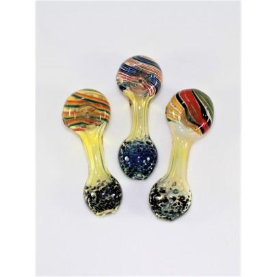 3.5'' Inner Swirl Head W/ Bubble Art Glass Hand Pipe