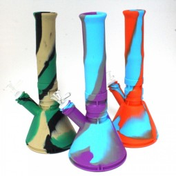 12'' Silicone Multi Color Beaker Water Pipe With 14 MM Male Bowl