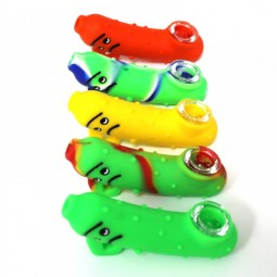 4'' Silicone Printed Color With Inner Glass Tube Hand Pipe With Glass Bowl