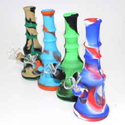 8'' Silicone And Glass Tower Shape Design Multi Color Water Pipe With 14 MM Male Bowl