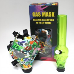 Fancy Decal Design Gas Mask With Acrylic Water Pipe Set