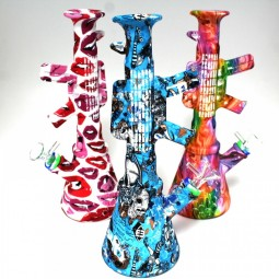 11'' Silicone Gun Shape Printed Multi Color Water Pipe With 14 MM Male Bowl
