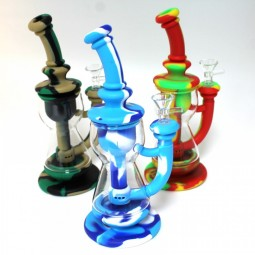 10'' Silicone With Glass Multi Color Water Pipe With 14 MM Male Bowl