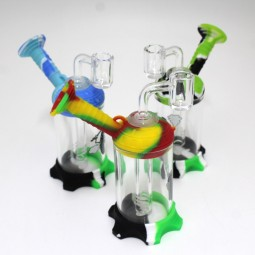 5.5'' Silicone With Glass Side Arm Dab Rig Water Pipe With 14 MM Male Banger