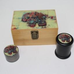 Bamboo Box Medium with Decal on Top , Glass Jar & 4 Part Decal 53 Zinc Grinder