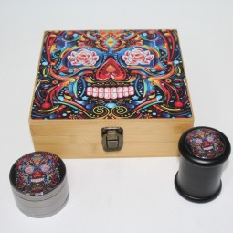 Bamboo Box with Decal on Top , Glass Jar & 4 Part Decal 63 Zinc Grinder