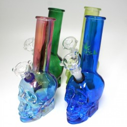 10'' Skull Design Assorted Color Water Pipe With 14 MM Male Bowl