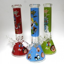 14'' Heavy Beaker Picture Art Water Pipe Glass On Glass