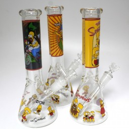 10'' Beaker Picture Art Water Pipe Glass On Glass