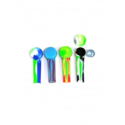 3'' Silicone Multi Color Hand Pipe With Metal Bowl With Cover