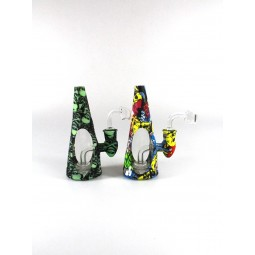6.5'' Silicone Printed Art Color Cone Shape  Dab Water Pipe With 14 MM Male Banger