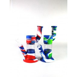 9'' Silicone With Glass  Multi Color Arm Design Water Pipe With 14 MM Male Bowl