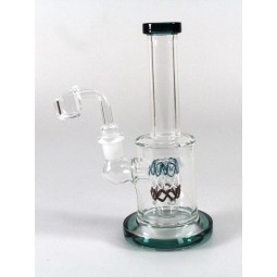 7'' Flat Bottom Tube Color Straight water Pipe With   4 MM Quartz  Banger