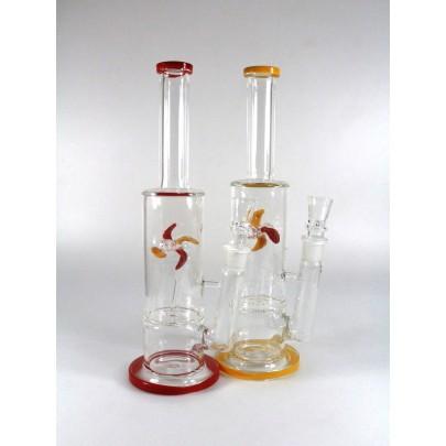 12'' Flat Bottom Fan Design Percolator Water Pipe G-G