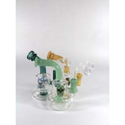 6'' Sticker Design Bent Dab Rig With 14 MM Male Banger