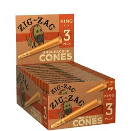Zag Zag Unbleached Cones King Size 3 Pack / 24 Ct Box